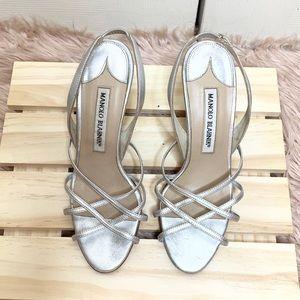 Manila Blahnik Silver Strappy Sandals